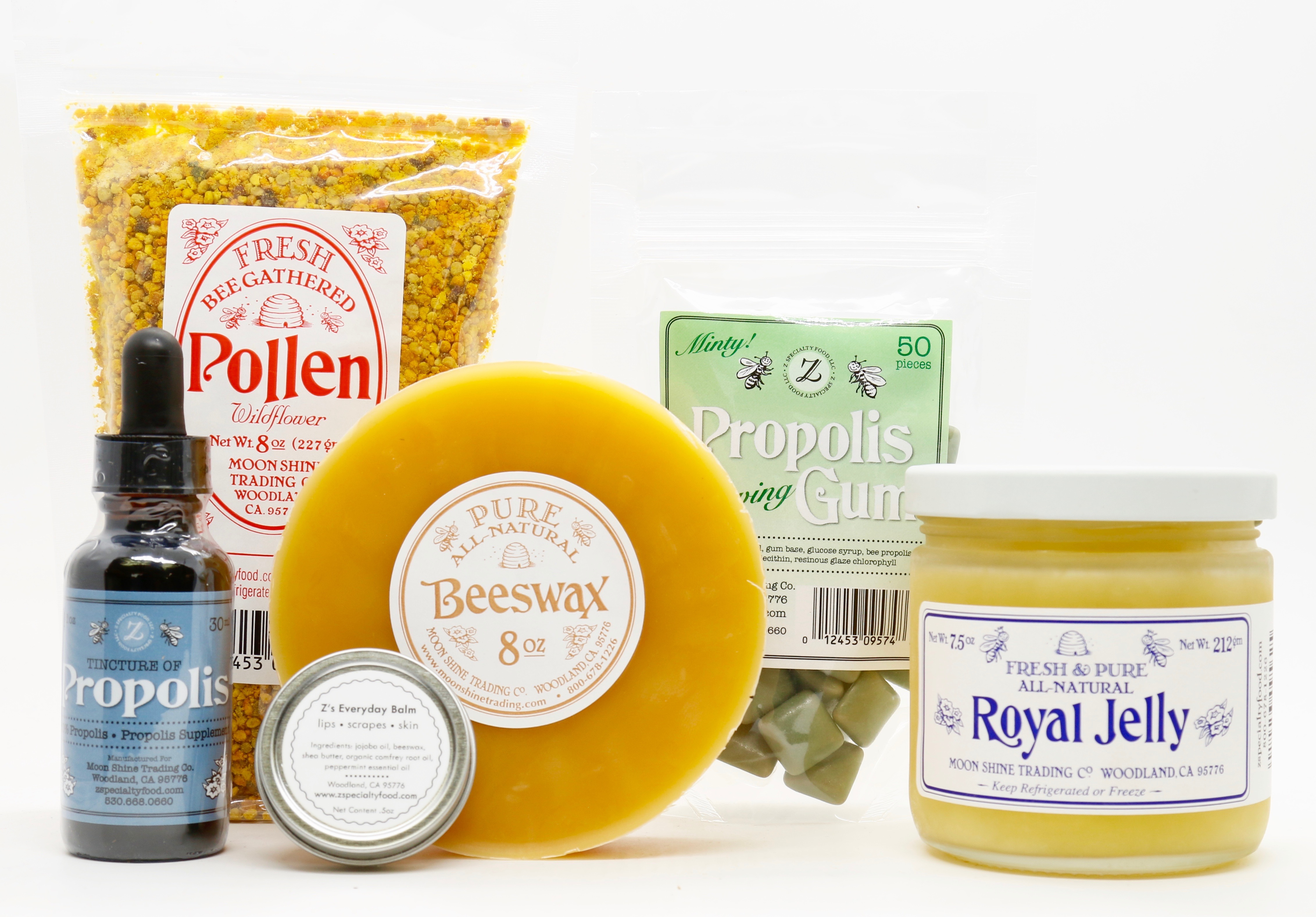 Our Moon Shine Trading Company 100% Pure Beeswax is produced exclusively by US honey bees. We also take pride in offering the best tasting fresh bee pollen.