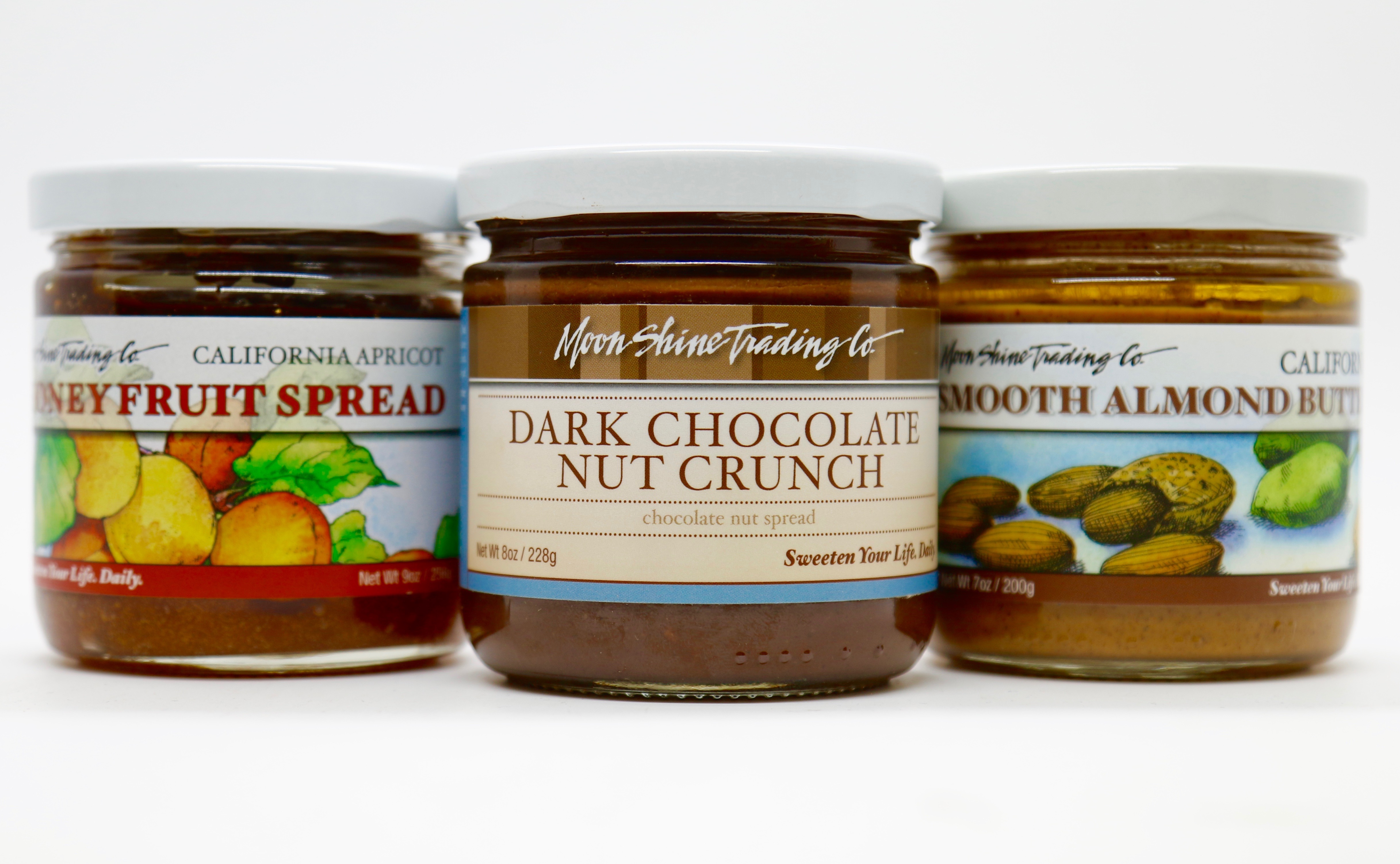 Moon Shine Trading Company Chocolate Nut Spreads, Honey Fruit Spreads and Nut Butters